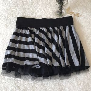 Striped Ruffle Skirt With Tulle Layers